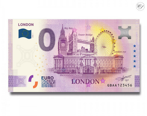 Iso-Britannia 0 € 2020 Lontoo-nollaseteli -juhlavuosiversio UNC