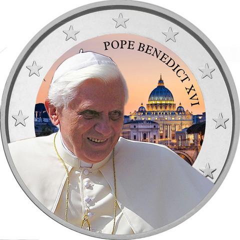 Vatikaanin paavit - Benedictus XVI 2 € -juhlaraha, väritetty