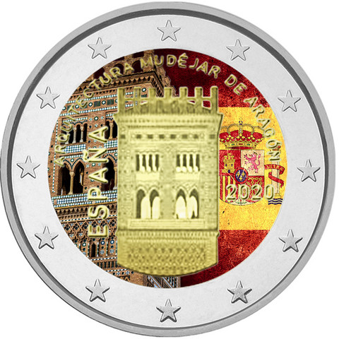 Espanja 2 € 2020 Aragon - Mudejar, väritetty (#2)