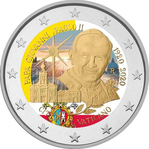 Vatikaani 2 € 2020 Paavi Johannes Paavali II, väritetty (#2)