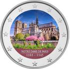 Notre Dame 2 € -juhlaraha, väritetty