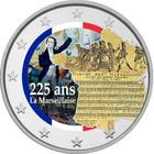 La Marseillaise 2 € -juhlaraha, väritetty