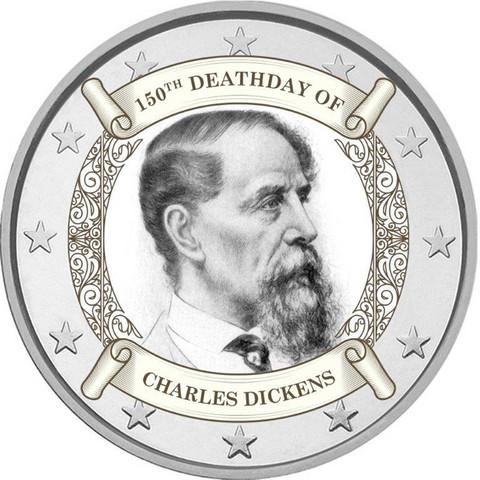 Charles Dickens 2 € -juhlaraha, väritetty