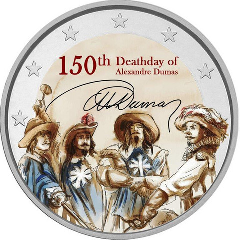 Kolme muskettisoturia 2 € -juhlaraha, väritetty