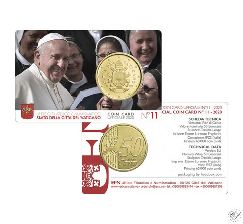 Vatikaani 50s 2020 Vatikaanin vaakuna BU coincard