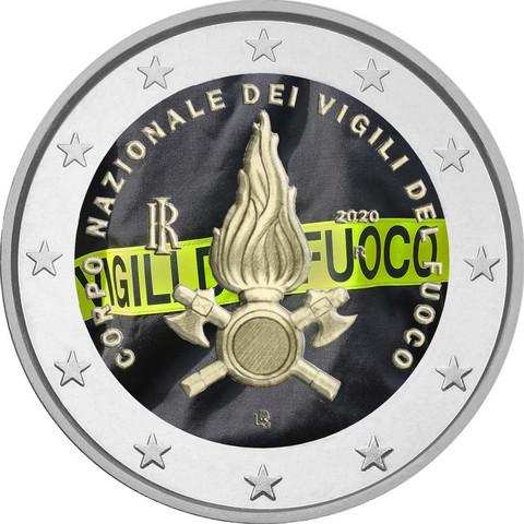 Italia 2 € 2020 Palovoimat, väritetty (#1)