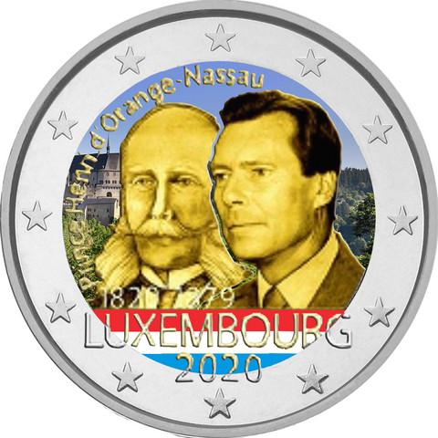 Luxemburg 2 € 2020 Prinssi Henry 200 v., väritetty (#1)