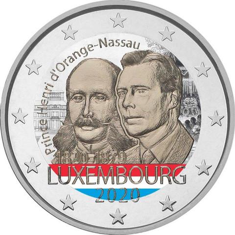 Luxemburg 2 € 2020 Prinssi Henry 200 v., väritetty (#2)