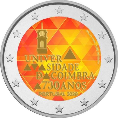 Portugali 2 € 2020 Coimbran yliopisto, väritetty (#1)