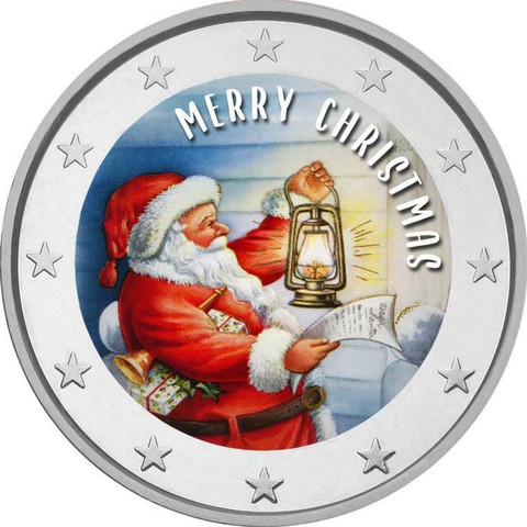 Hyvää Joulua! 2 € 2020 -juhlaraha, väritetty (#1)