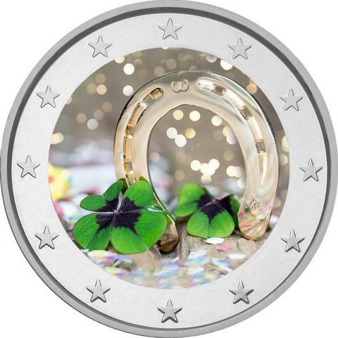 Hyvää Uutta Vuotta 2 € 2020 -juhlaraha, väritetty (#1)