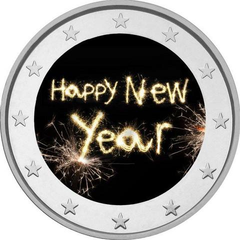 Hyvää Uutta Vuotta 2 € 2020 -juhlaraha, väritetty (#2)