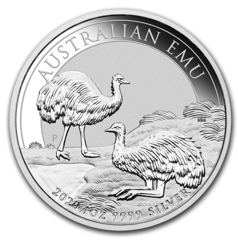 Australia 2020 Emu hopearaha 1 oz Ag