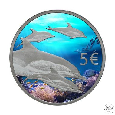 Portugali 5 € 2020 Delfiinit väritetty