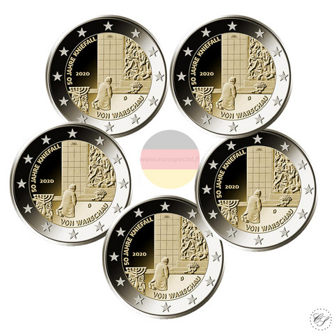 Saksa 2 € 2020 Varsovan polvistuminen 50 v. A-J
