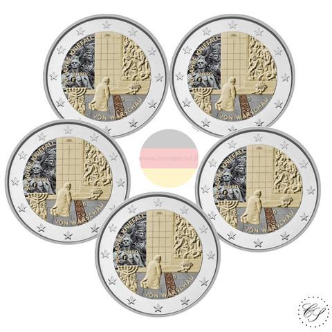 Saksa 2 € 2020 Varsovan polvistuminen 50 v. A-J, väritetty (#2)