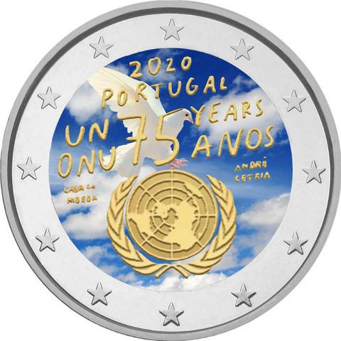 Portugali 2 € 2020 Yhdistyneet Kansakunnat 75 v., väritetty (#1)
