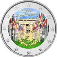 Portugali 2 € 2020 Yhdistyneet Kansakunnat 75 v., väritetty (#2)