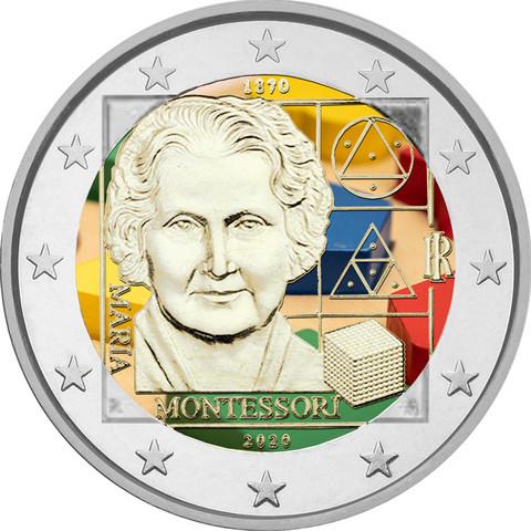 Italia 2 € 2020 Maria Montessori 150 vuotta, väritetty (#1)