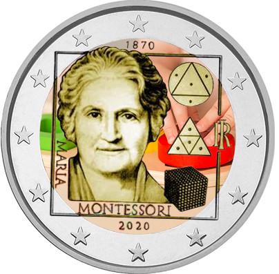 Italia 2 € 2020 Maria Montessori 150 vuotta, väritetty (#2)