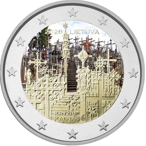 Liettua 2 € 2020 Ristikukkula, väritetty (#1)