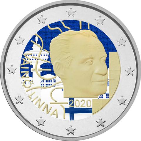 Suomi 2 € 2020 Väinö Linna 100 vuotta, väritetty (#1)