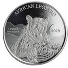 Ghana 5 GH₵ 2020 Afrikan Leopardi 1 oz hopea