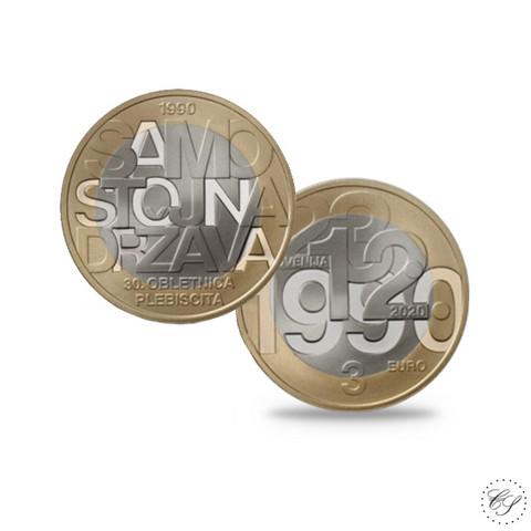 Slovenia 3 € 2020 Kansanäänestys itsenäisyydestä 30 v.