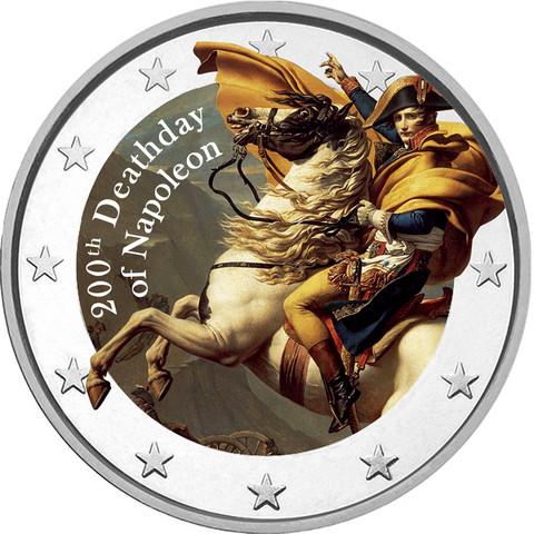Napoleon 200 vuotta 2 € -juhlaraha, väritetty
