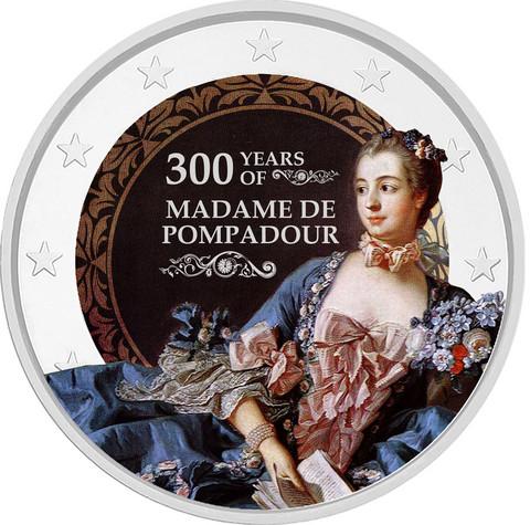 Madame de Pompadour 2 € -juhlaraha, väritetty