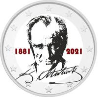 Ataturk 2 € -juhlaraha, väritetty