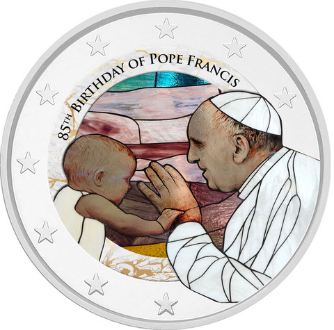 Franciscus 85 vuotta 2 € -juhlaraha, väritetty