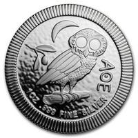 Niue 2021 Pallas Athenen pöllö hopeakolikko 1 oz