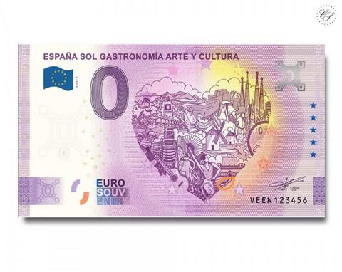 Espanja 0 € 2020 Gastronomia -nollaseteli -juhlavuosiversio UNC