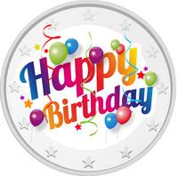 Hyvää Syntymäpäivää 2 € 2021 juhlaraha, väritetty