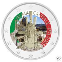 Italia 2 € 2021 Pääkaupunki Rooma 150 vuotta, väritetty (#1)