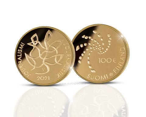 Suomi 100 € 2021 Journalismi kultaraha, numeroitu