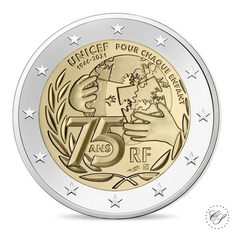 Ranska 2 € 2021 Unicef 75 vuotta