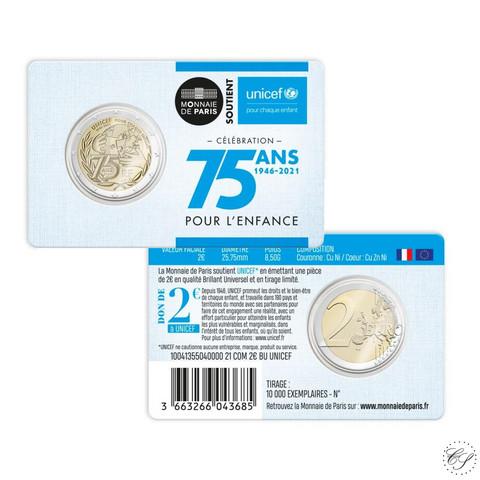 Ranska 2 € 2021 Unicef 75 vuotta BU coincard