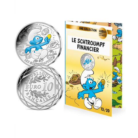 Ranska 2020 Smurffit-hopearaha - Finanssismurffi väritetty
