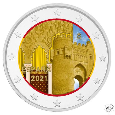 Espanja 2 € 2021 Toledo - Puerta del Sol, väritetty (#1)