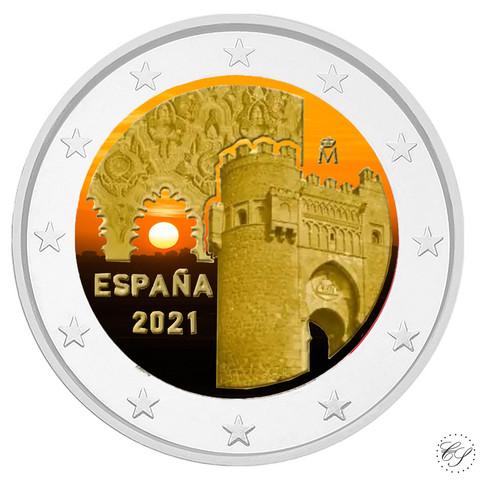 Espanja 2 € 2021 Toledo - Puerta del Sol, väritetty (#2)