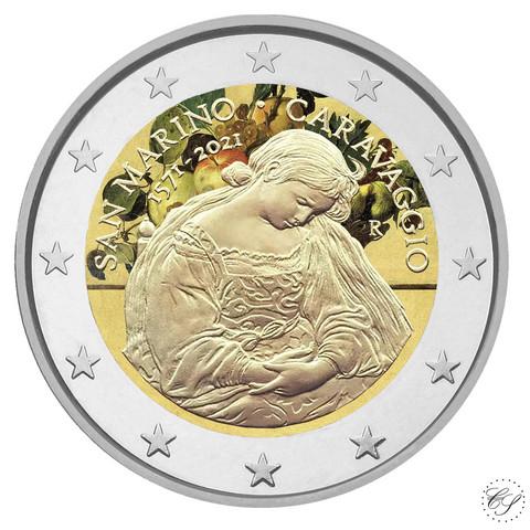 San Marino 2 € 2021 Caravaggio, väritetty (#2)