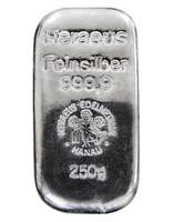 Heraeus 250g hopeaharkko 99,9%