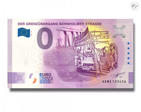 Saksa 0 € 2021 Bornholmer Strassen rajanylityspaikka UNC