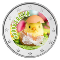 Pääsiäinen 2 € 2021 juhlaraha, väritetty (#2)