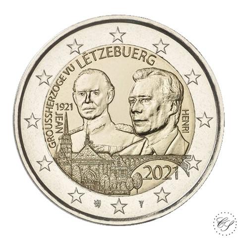 Luxemburg 2 € 2021 Suurherttua Jean 100 v., normaali versio