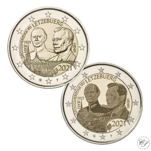 Luxemburg 2 € 2021 Suurherttua Jean 100 v., molemmat versiot