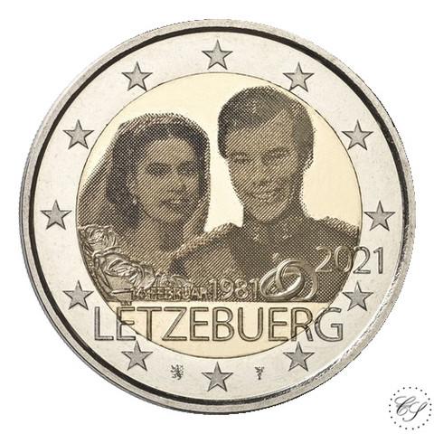 Luxemburg 2 € 2021 Maria Teresan & Henrin häät 40 v., kuvajäljitelmäversio