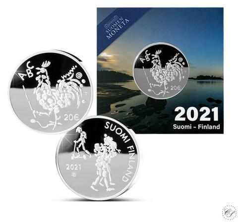 Suomi 20 € 2021 Oppivelvollisuuslaki 100 vuotta Ag, proof